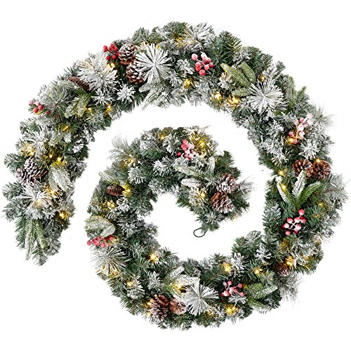 WeRChristmas Extra Thick Pre-Lit Mixed Pine Snow Flocked Garland with Cones and Berries with 80-LED, White/Green, 9 feet