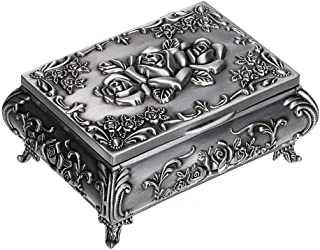 Heart Ring Storage Container Personalized Trinket Box Vintage Style Jewelry Holder Silver Keepsake Box Ring Holder Silver Jewelry Box