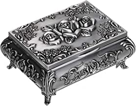 Hipiwe Vintage Metal Jewelry Box Small Trinket Jewelry Storage Box for Rings Earrings Necklace Treasure Chest Organizer Antique Jewelry Keepsake Gift Box Case for Girl Women (Small)