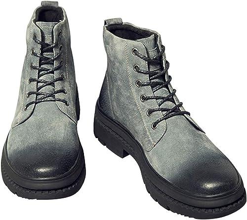 Fuxitoggo Herren Vintage Hohe Stiefel Fashion Martin Stiefel Desert Stiefel (Farbe   Grau, Größe   44EU)