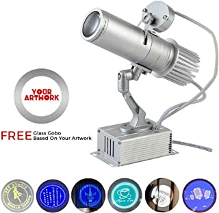 Led Custom Image GOBO Logo Projection Lamp with Rotary Function Manual Zoom Focus, Indoor Custom GOBO, Company, Hotel, Restaurant, Advertising Signboard (15W HD Advertising Projector)