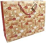Bolsa Shopping de papel para regalo 170g Kraf, Estilo Cosy in Red Tamaño...