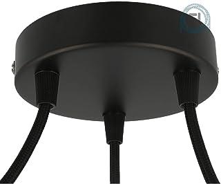 Flairlux Baldaquino de 3 vías negro para montaje de lámparas colgantes, adecuado para todas las lámparas, para colgar en el techo, roseta de techo de 120 x 25 mm, incluye boquilla de sujeción