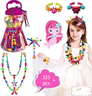 HANMUN Snap Pop Beads Girls Toy - 325 Pieces DIY Jewelry Making Kit Fashion for Ring Necklace and Bracelet Art Crafts Education Toys Girls Gift for Kids Girls …