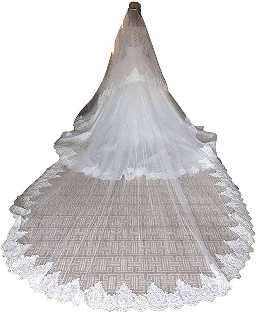 Fenghuavip Lace Wedding Veil 2T Long Train Cathedral Veils for Bride with Comb