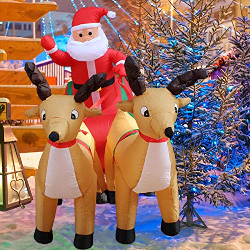 Thrivinger 7ft Inflatable Christmas Outdoor Claus, Christmas Inflatable Santa, Christmas Inflatable LED Lighted Santa on Sleigh with Reindeers, for Holiday Season, Blow up Outdoor Yard
