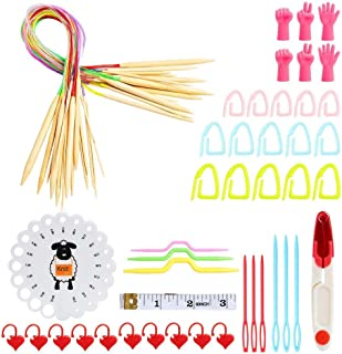 OUKA 62 Pcs Knitting Needle Set, CK162-C3 18 Pcs 2mm - 10mm Aluminum Circular Double Pointed Crochet Hook Sets, Knitting K...