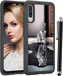 Voanice forGalaxy A50 Case, Hybrid Heavy Duty Protection Armor Shockproof Rugged Dual Layer Protective Phone Case Hard Plastic & Soft Silicone Women Men Cover for Samsung Galaxy A50 -Cat and Tiger