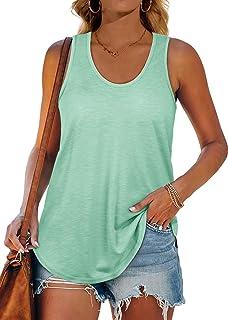 Muzboo Camiseta sin mangas para mujer con espalda cruzada, ajuste holgado, cuello en U