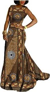 African Ankara Print Women Dress Sleeveless Floor-Length Trumpet Maxi Dress 100% Batik Cotton Made AA722559A