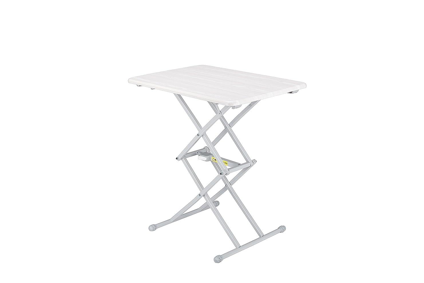 フォアマン素敵な建築家Adjustable Folding Table(昇降式4段調節テーブル) 木折りたたみテーブル 簡便な高さの調節 個人用テーブル ホワイト