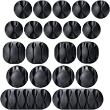 20 Pack Multipurpose Black Cable Clips Viaky Cord Management System, for Organizing Cable Cords Home and Office, Self Adhe...