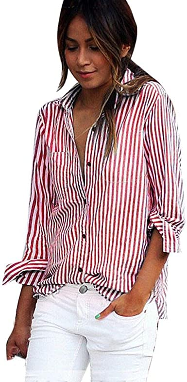 FEITONG Blusa de rayas rojas de las mujeres Camisetas de ...