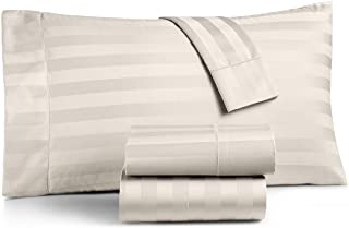 Charter Club Damask Stripe Queen 4 Pieces Sheet Set, 550 Thread Count Supima Cotton Ivory