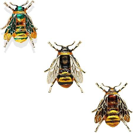 CAILI 3 pcs Broche de Abeja, Broche de Insecto Vintage, Broche de Aceite de Gota de Personalidad, Adorno Perfecto y Regalo para Niños y Niñas (Amarillo + Blanco + Verde)