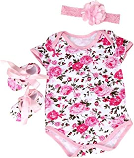 DZT1968 1 Set Baby Girl Floral Romper with Shoes Headband