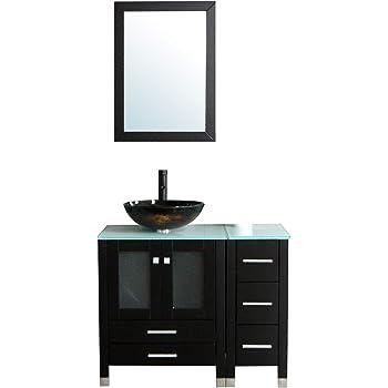 "Walcut 36"" Bathroom Vanity and Sink Combo Black Bathroom Vanities MDF Wood Cabinet and Round Glass Vessel Sink Faucet Drain Mirror Combo(2)"