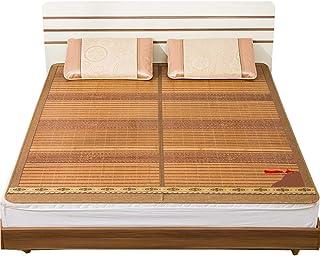 Estera de bambú, cama doble individual de ratán en verano, estera de bambú plegable de doble cara, esterilla de aire acondicionado de seda con hielo en la parte posterior, barbless natural,1.8x2.0m