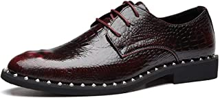 XueQing Pan Business Oxford for Men Loafer Shoes Lace up Microfiber Leather Experienced Stitched Waxy Shoelaces Metal Decoration Faux Crocodile  Skin (Color : Red-Brown, Size : 6 UK)