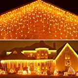 Icicle Lights Outdoor Christmas Lights 400 Led String Lights Curtain Fairy Light with 75 Drops, 33ft 8 Modes Decor for Christmas Thanksgiving Xmas Holiday Decorations, Warm White