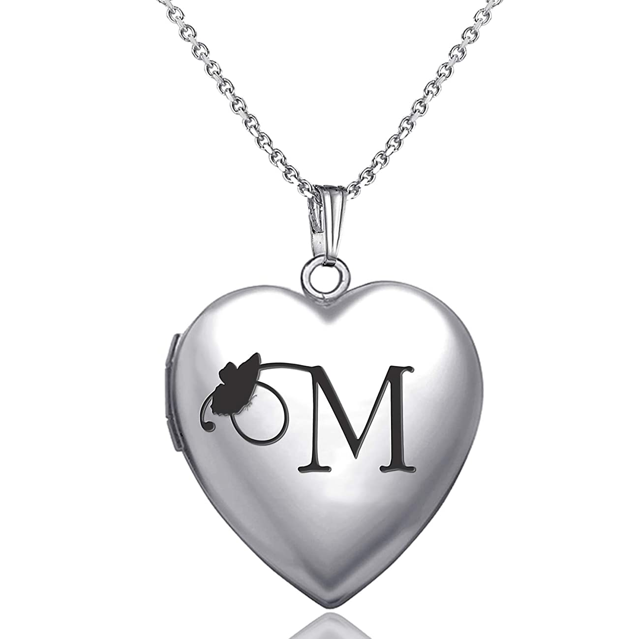 MUERDOU Locket Necklace That Holds Pictures Initial Alphabet Letter Heart Shaped Photo Memory Locket Pendant Necklace