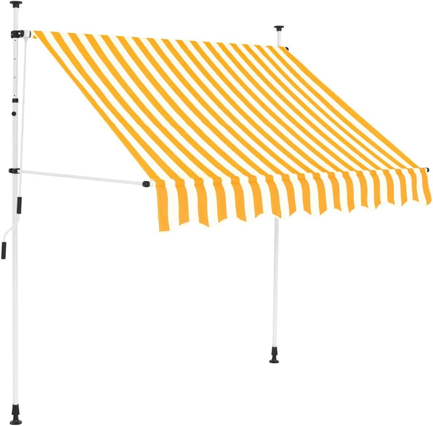 VidaXL Manual Retractable Awning 150cm Yellow and White Stripes Shade Canopy