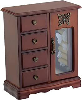 RR ROUND RICH DESIGN Solid Wooden Jewelry Box Makeup and Organizer Women Ring Storage with 4-Drawers Built-in Necklace Carousel and Mirror Brown