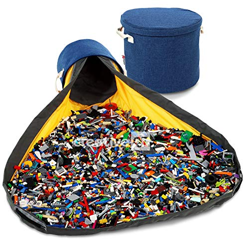 Creative QT SlideAway Toy Storage Basket and Play Mat – Available in Multiple Patterns – 12' Tall by 15' Diameter - Heather Navy Toy Basket
