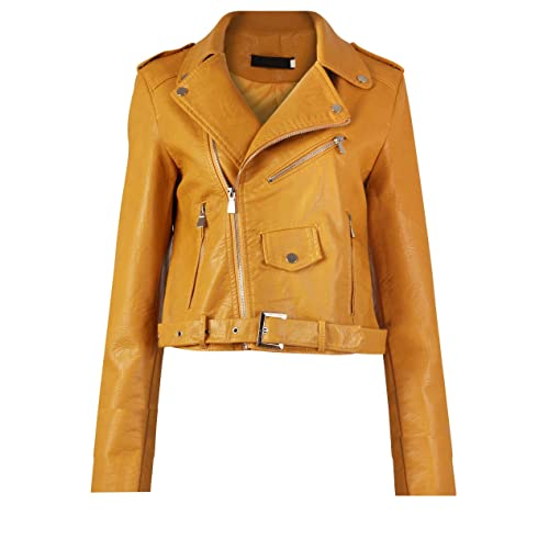 ad2b2d580 Gracious Girl GG New Womens Faux Leather Biker Zip Crop Ladies Jacket Coat