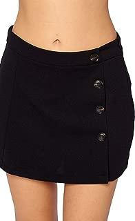 Ci Sono Women's Asymmetrical Button High Waist Solid Stretch Mini Skirt Shorts