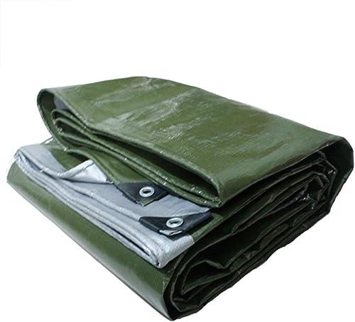 GLJ en Plein Air Tissu De Pluie Bache Imperméable à l'eau De Prougeection Solaire en Tissu en Tissu Camion Tricycle Tissu De Pluie bache (Couleur   Army vert+argent, Taille   8x12m)