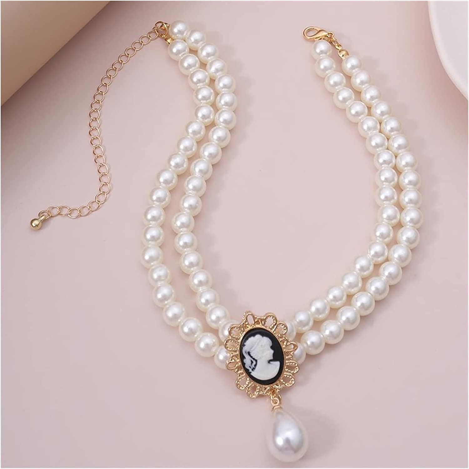 zxb-shop Necklaces Pendant Layered Short Pearl Choker Necklace for Women White Beads Necklace Wedding Jewelry Pearl Choker Collar Gifts Long Necklaces Handmade (Metal Color : C)