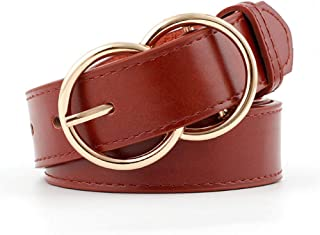 Women Double Ring Belt Gold Buckle Waist Belts For Lady Jeans Skinny Thin Leather Straps