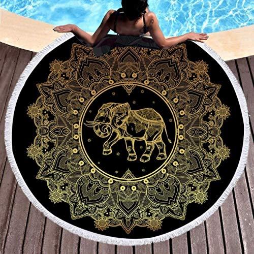 GermYan Toalla de Playa Redonda Grande para Adultos Mujer Mandala Elefante Tapiz de Borla Bohemia Manta de Microfibra 150Cm