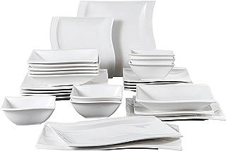 MALACASA. Série Flora, 26 Pièces, Service de Table Porcelaine Couvert Vaisselles pour 6 Personnes