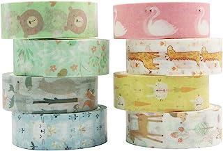 Yubbaex マスキングテープ 子供の好きな動物 可愛いデザイン 15mm幅 プレゼント包装、DIY工芸品、ノートの装飾に使える (かわいい動物園 8巻)