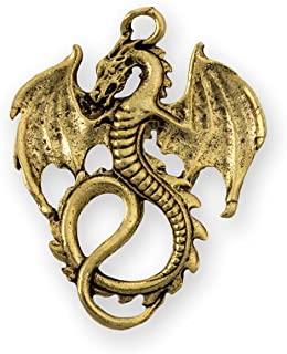 36x28mm Antique Gold Plated Pewter Dragon Pendant