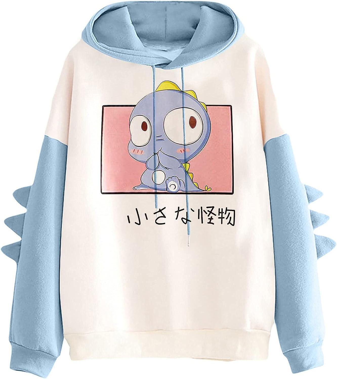 Women's Cute Hoodie for Teen Girl Long Sleeve Kawaii Dinosaur Print Tee Casual Graphic Tops Animal Hoodies Shirt