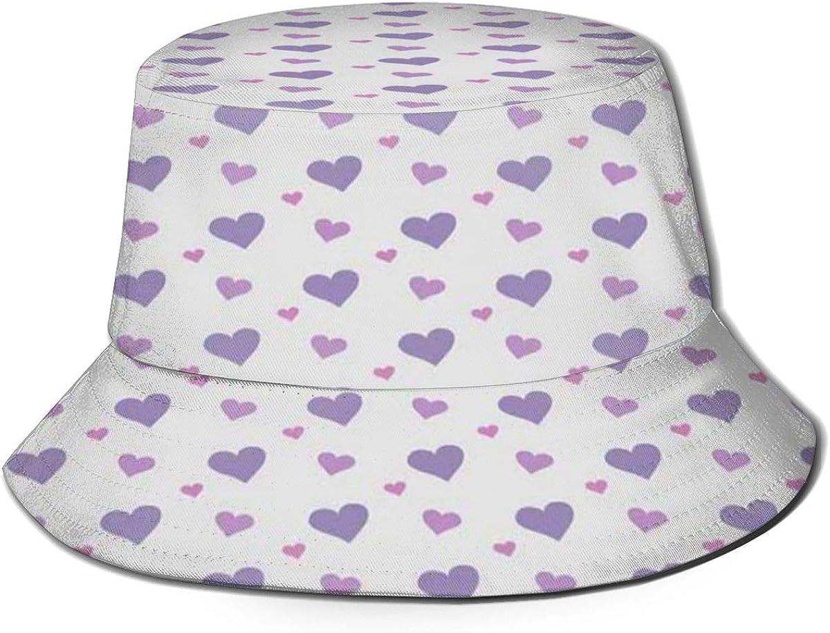 Unisex Fisherman Cap,Girls Nursery Design Candy Like Full of Love Icon Hearts Rain Image Print,Travel Beach Hat