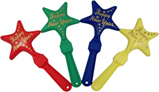 Assorted Plastic Happy New Year Star Clapper Noise Makers, Pack of 4