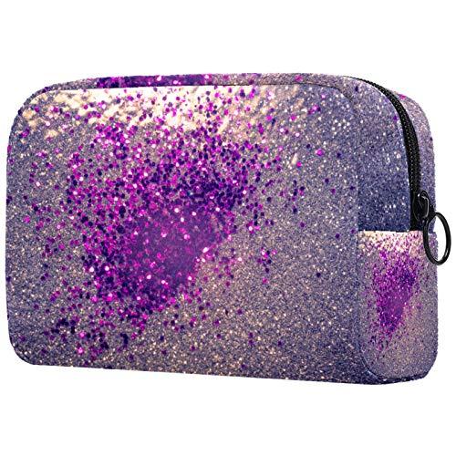 Bolsas de Maquillaje Estuche multifunción para Organizador de Bolsas de cosméticos de Viaje portátil Brillo Decorativo de Plata y púrpura. con Neceser con Cremallera para Mujer