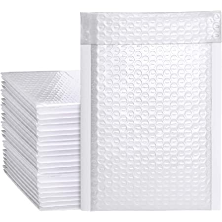 Metronic 25Pcs Poly Bubble Mailers, 6X10 Inch Padded Envelopes Bulk #0, Bubble Lined Wrap Polymailer Bags for Shipping/ Packaging/ Mailing Self Seal -White