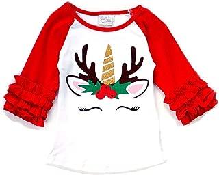 Little Girls Unicorn Christmas Holiday Party Fall Raglan Top T-Shirt Tee Blouse