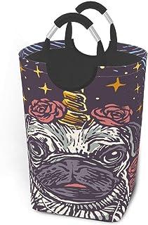 Panier à linge mignon carlin chien licorne grand sac à linge sale pliable grand panier de rangement en tissu paniers de ra...