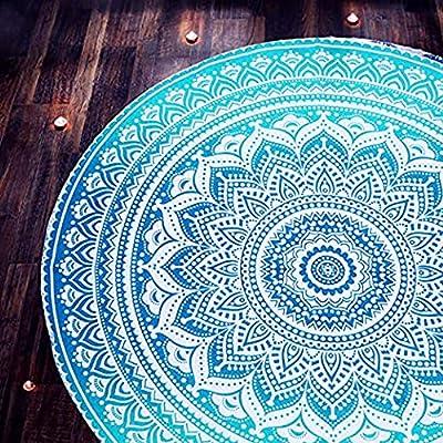 raajsee Mandala Round Beach Tapestry ,Boho Beach Blanket Roundie,Indian Cotton Throw Bohemian Round Table Cloth