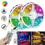 CMOM Tira de luz LED de 10 m con mando a distancia de 24 teclas, RGB tira con cambio de color, tira de luz autoadhesiva, tira de luces LED, tira de luces multicolor