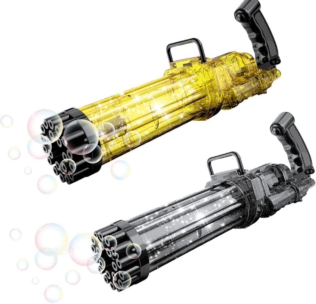 FRIEDEIR 2PCS Bubble Machine 21 Holes Bubble Maker Electric Gatl