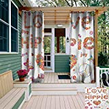 Outdoor Curtains Groovy Love Hippie Flowers Festive Season Ladybird Ladybugs Nature Flourishes Art