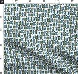 50Er Jahre, Grafisch, Blau, Grün Stoffe - Individuell
