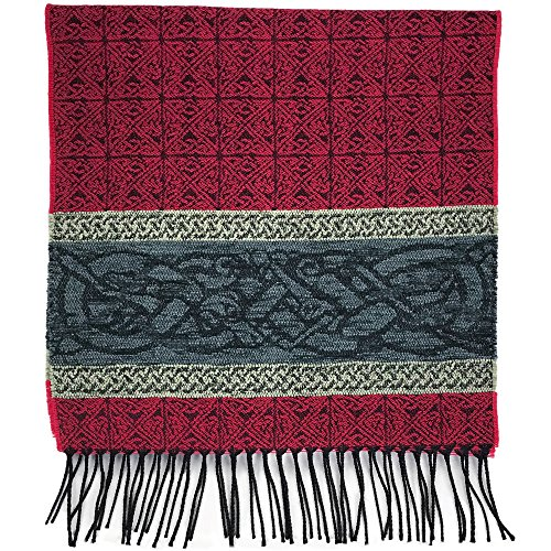 Detailed Woven Celtic Scarf made in Scotland, a collection based on traditional Celtic designs and patterns (Romany Celtic Dog)
